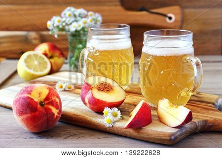 Light fruit craft beer fruits and bouquet of wildflowers