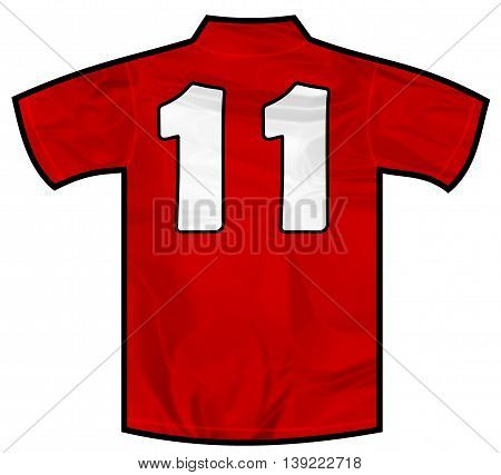 Number 11 eleven red sport shirt as a soccer, hockey, basketball, rugby, baseball, volley or football team t-shirt. Like Spain or England or Russia national team
