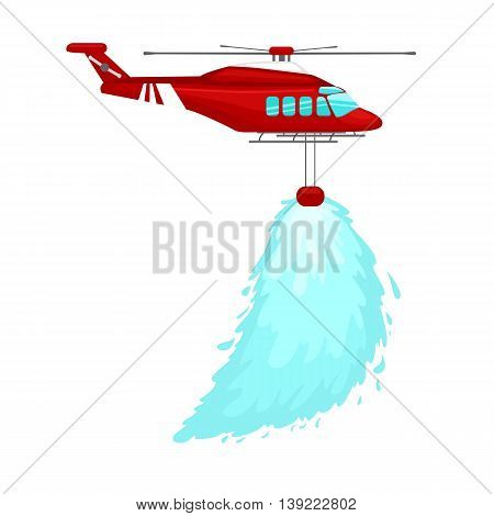 red emergency propeller helicopter in the air with water for extinguish danger fire. Rescue aircraft flight water transportation isolated vector illustration