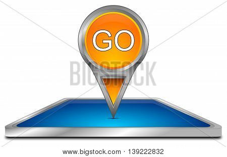 Smartphone with Map pointer Go - 3D illustration