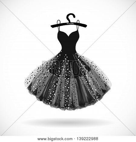 Little black shiny chiffon dress hand drawn vector illustration