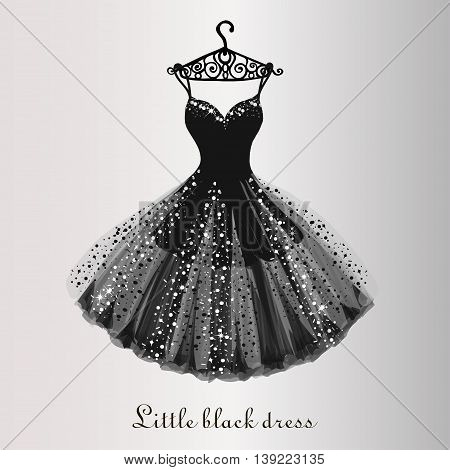 Chiffon little black dress hand drawn vector illustration
