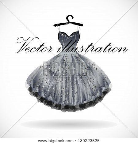 Beautiful silver dress hand drawn vector illustration