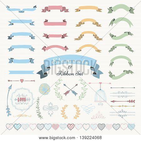 Set of Hand Drawn Colorful Doodle Sketched Rustic Decorative Wedding Design Elements and Ribbons. Vintage Vector Illustration.