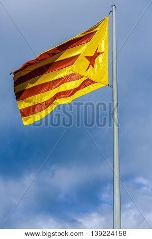 Great Catalan independentist flag (Estelada) Vic Catalonia