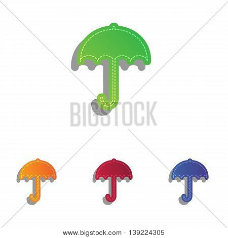 Umbrella sign icon. Rain protection symbol. Flat design style. Colorfull applique icons set.