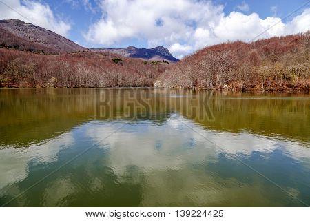 Lake Santa Fe Montseny. Spain. Located in a beautiful setting of Barcelona. Autumn colors