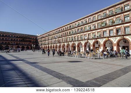 Cordoba - Spain November 25 2013: Famous Plaza de la Corredera from the year 1683 in Cordoba Spain