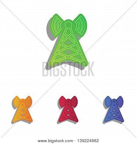 Antenna sign illustration. Colorfull applique icons set.