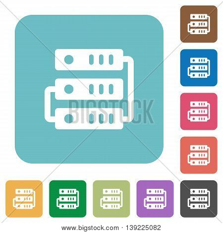 Flat servers icons on rounded square color backgrounds.