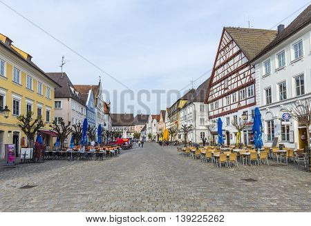 People At The Old Market Place In Guensburg