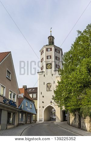 Old Town Gate And Market Place In Guensburg, Bavaria