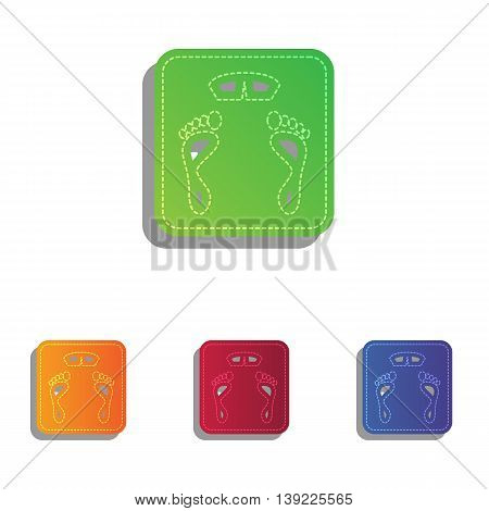 Bathroom scale sign. Colorfull applique icons set.