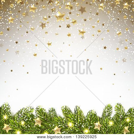 christmas background with falling stars and spruce branches