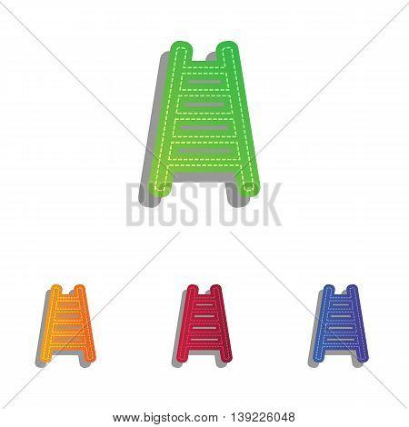 Ladder sign illustration. Colorfull applique icons set.