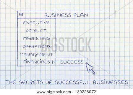 Business Plan Dropdown Menu, Select Success