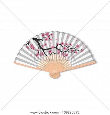 Fan for kabuki dance. Geisha accessories. Fan with the image of sakura. Vector illustration