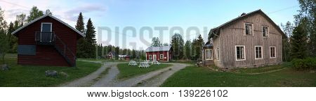 Panoramic View Of Spoekpraestgaard, A Haunted Clergy House, In Borgvattnet In Sweden