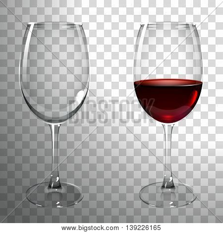 glass of red wine on a transparent background