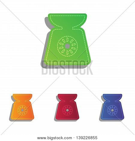 Kitchen scales sign. Colorfull applique icons set.