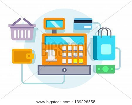Cash register and payment concept. Money and retail, design machine, sale and currency, flat vector illustration