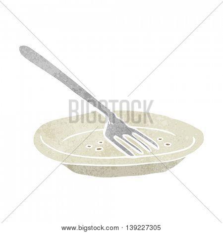 freehand retro cartoon empty plate