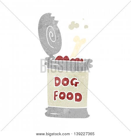 freehand retro cartoon dog food