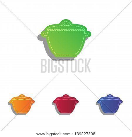 Saucepan simple sign. Colorfull applique icons set.