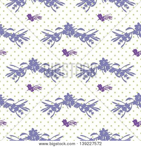 Seamless Lavender flowers background. Botanical illustrations are drawn by hand