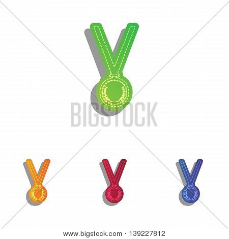 Medal simple sign. Colorfull applique icons set.