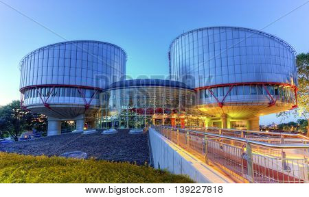 STRASBOURG, FRANCE - JUNE 19, 2016: European Court of Human Rights building by night, HDR