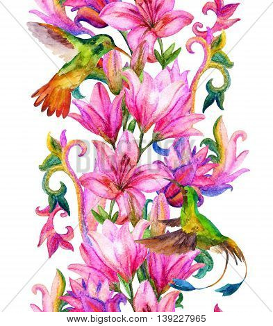 Lily border with watercolor birds. Floral seamless pattern with humming bird on white background. Hand painted illustration