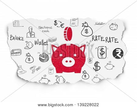 Money concept: Painted red Money Box With Coin icon on Torn Paper background with  Hand Drawn Finance Icons