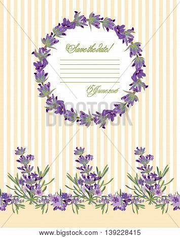 Greeting card with Lavender flowers. Botanical illustrations are drawn by hand
