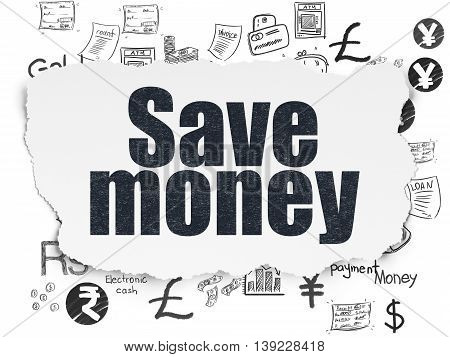 Money concept: Painted black text Save Money on Torn Paper background with  Hand Drawn Finance Icons