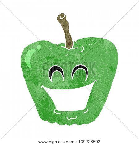 freehand retro cartoon grinning apple