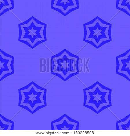 Seamless Blue Geometric David Star Background. Ornamental Blue Pattern