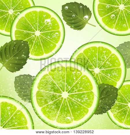 refreshing drink of lime and mint leaves