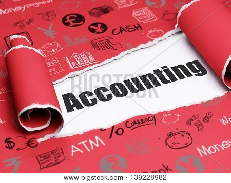 Banking concept: black text Accounting under the curled piece of Red torn paper with  Hand Drawn Finance Icons, 3D rendering