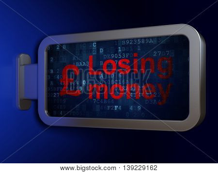 Currency concept: Losing Money and Pound on advertising billboard background, 3D rendering