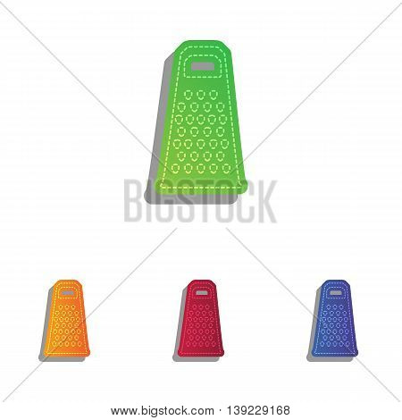 Cheese grater sign. Colorfull applique icons set.