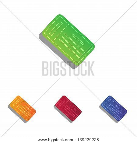 Ticket simple sign. Colorfull applique icons set.