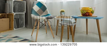 Comfortable Patchwork Chair Inviting To Have A Seat