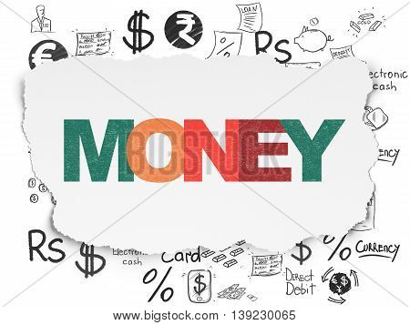 Banking concept: Painted multicolor text Money on Torn Paper background with  Hand Drawn Finance Icons