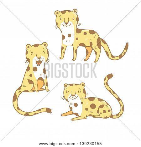 Cute cartoon leopards set. Three little wild kitten. Funny african animals. Children's illustration. Collection for kids. Vector image.