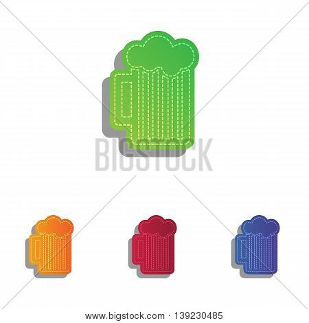 Glass of beer sign. Colorfull applique icons set.