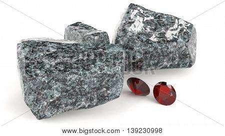 Brilliant gems and rocky boulders 3d illustration
