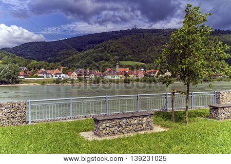 Village of Willendorf on the river Danube in the Wachau region by day, Austria