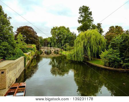 Scenic view of a bridge over river Cam in a university park in Cambridge.