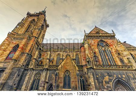 Side of gothic Saint Martin's Church in Colmar, France